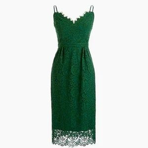 Green J. Crew. spaghetti-strap lace dress, size 00